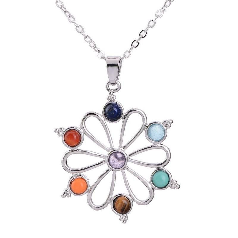 Stone Healing Chakra Gem Beads Necklace
