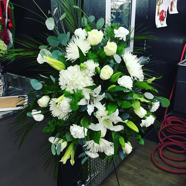All White Standing Spray - Mikells Florist