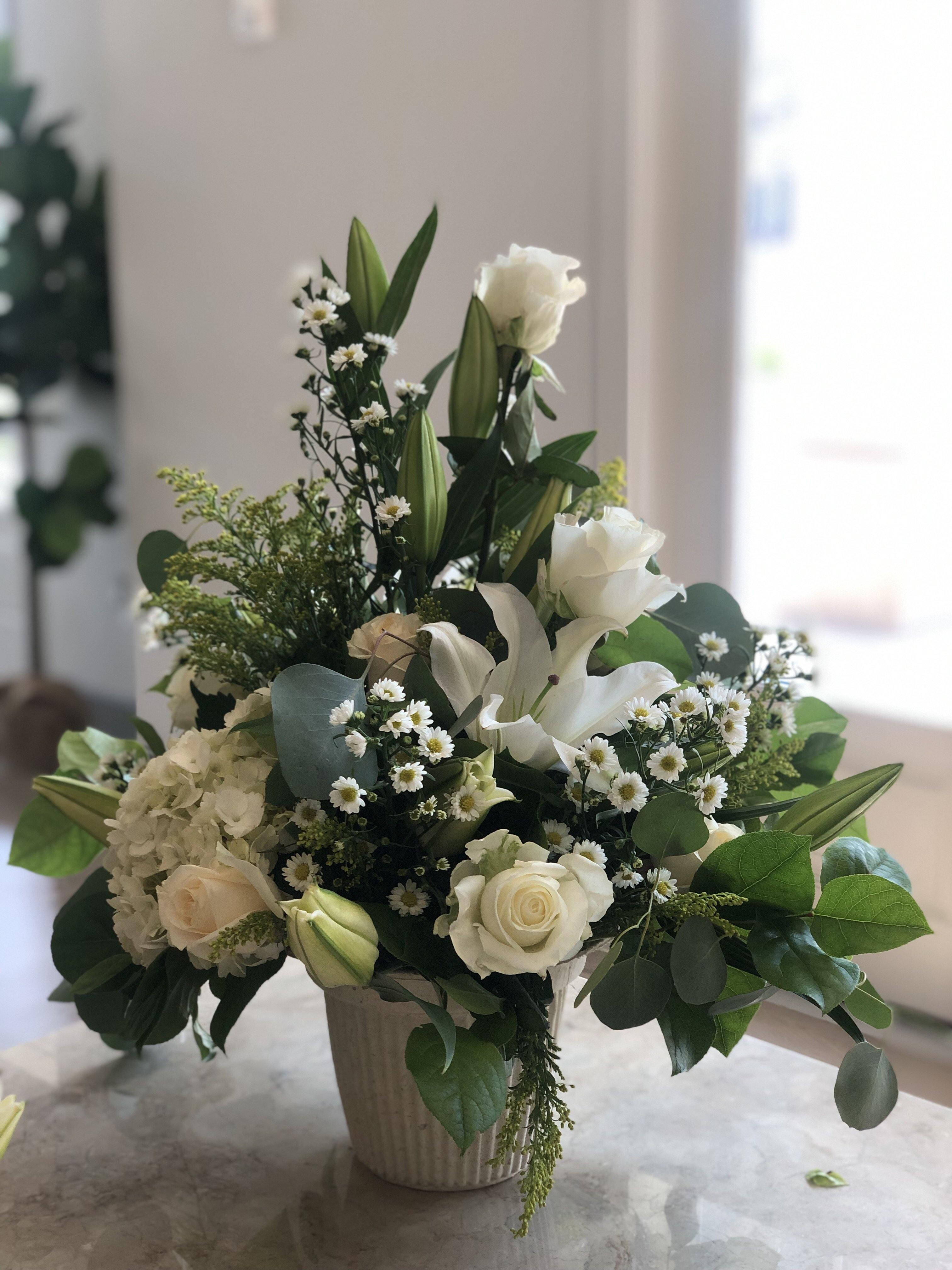 All White Floral Basket - Mikells Florist
