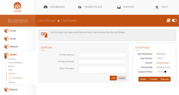 Let's Encrypt App Live in the ClearOS Marketplace