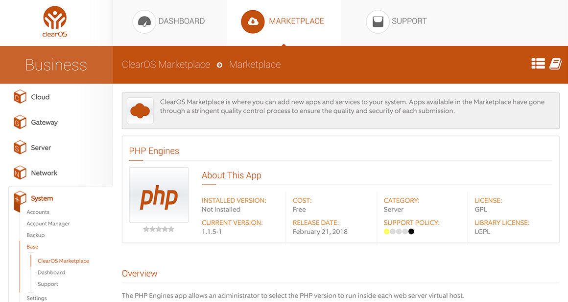 PHP Engines App Now Live in the ClearOS Marketplace