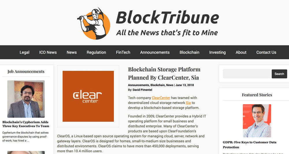 Blockchain Storage Platform Planned By ClearCenter, Sia
