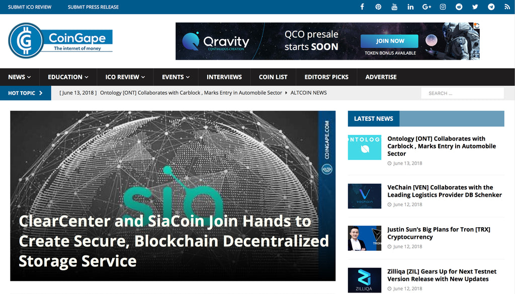 ClearCenter and SiaCoin Join Hands to Create Secure, Blockchain Decentralized Storage Service