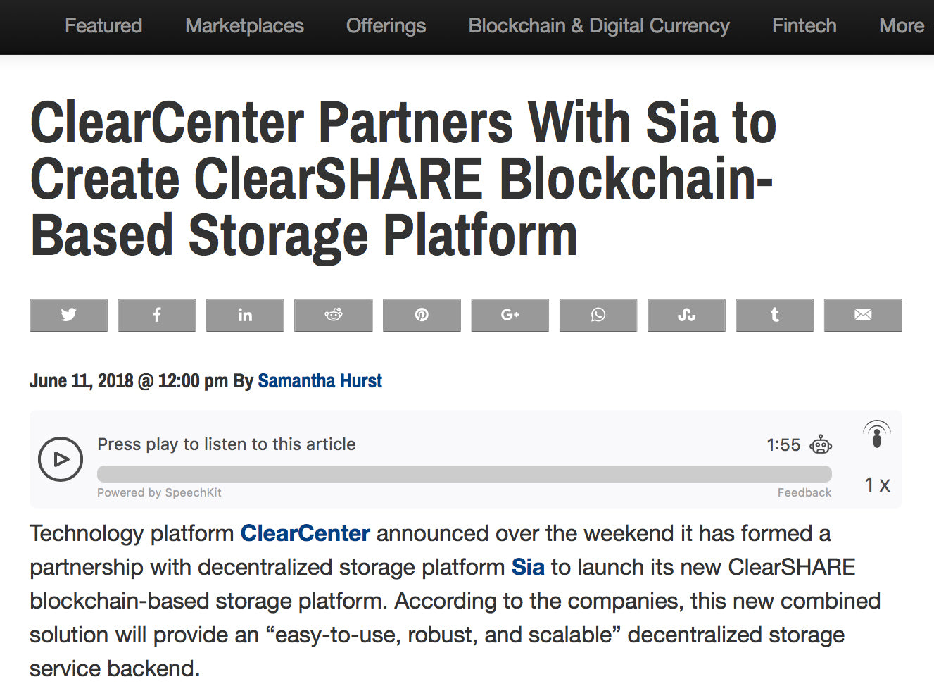 New Blockchain Storage Platform ClearSHARE By SIA & ClearCenter Announced