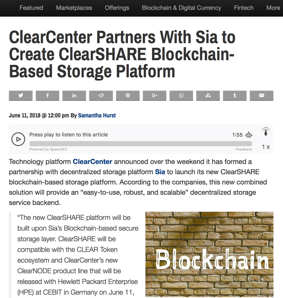 ClearCenter Partners With Sia to Create ClearSHARE Blockchain-Based Storage Platform