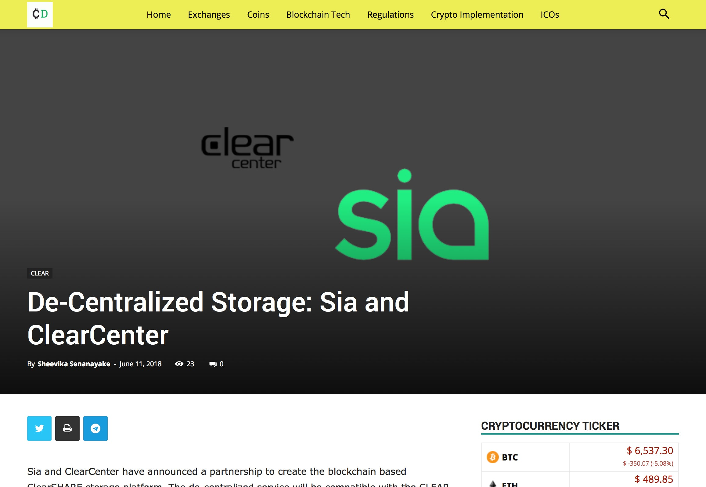 De-Centralized Storage: Sia and ClearCenter