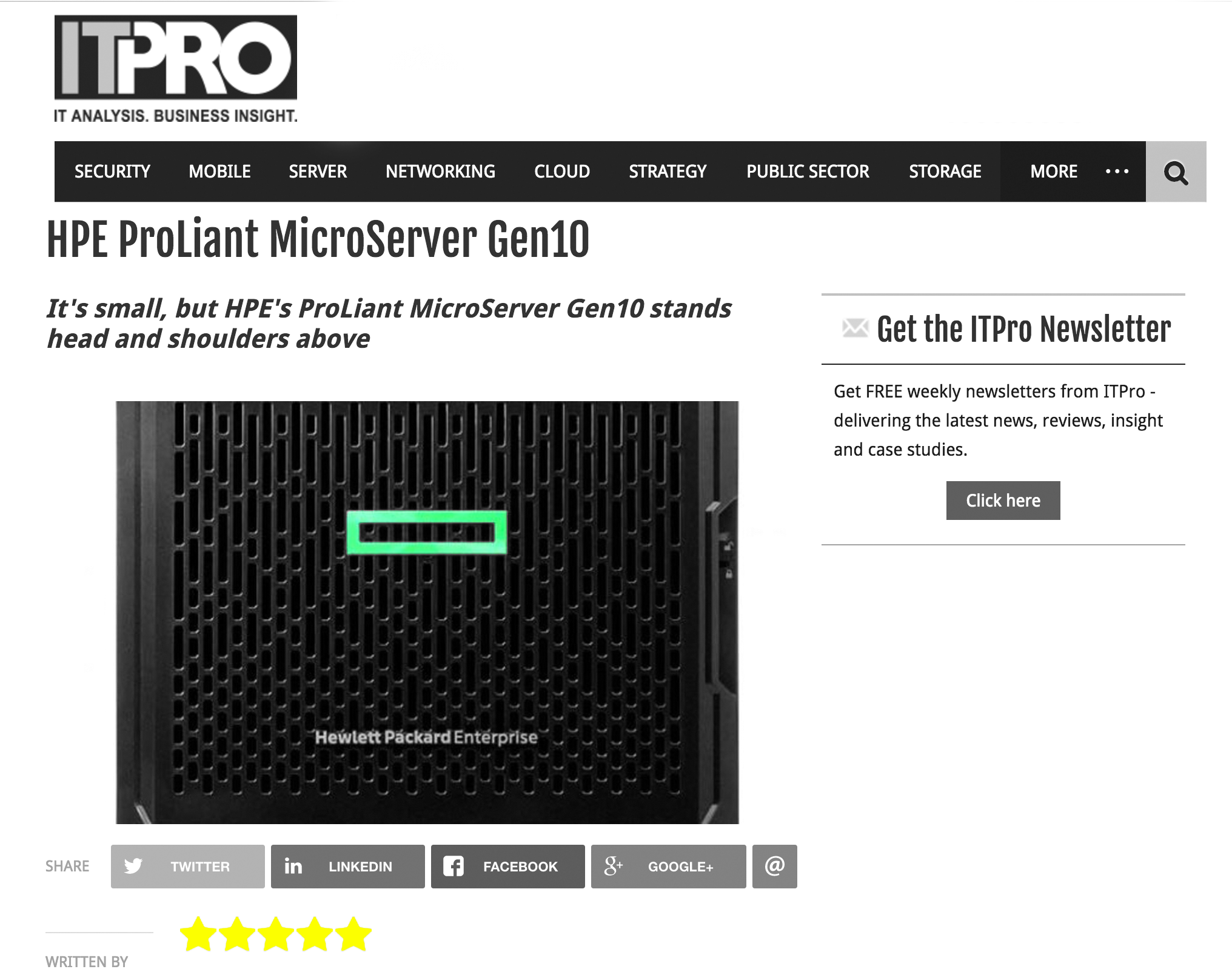 IT Pro Gives 5-star Review to ClearOS and HPE Gen10 ProLiant MicroServer