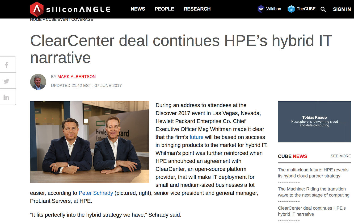 ClearCenter deal continues HPE's hybrid IT narrative