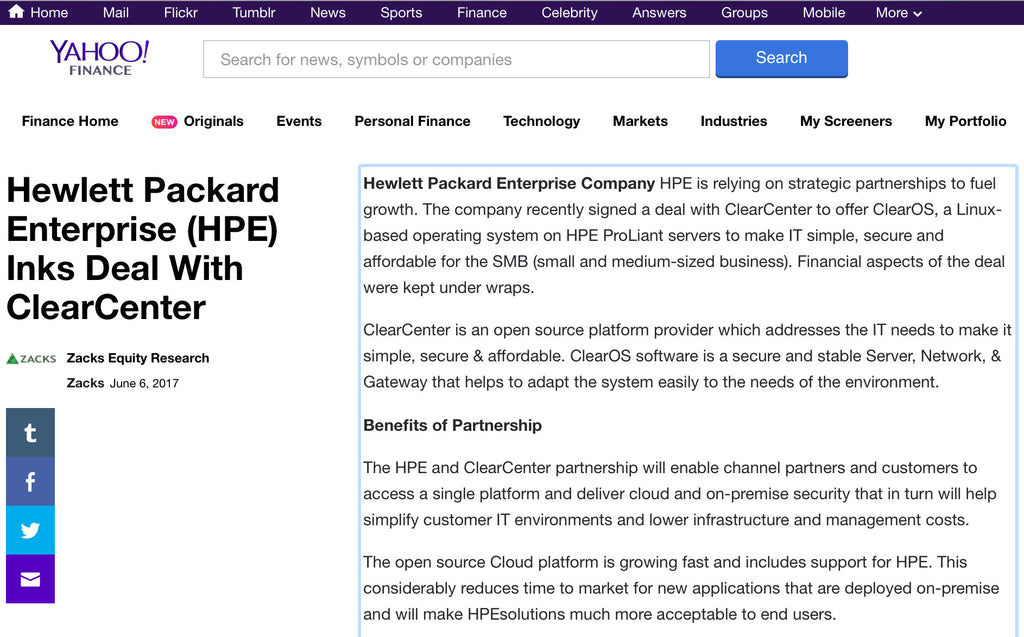 Hewlett Packard Enterprise (HPE) Inks Deal With ClearCenter
