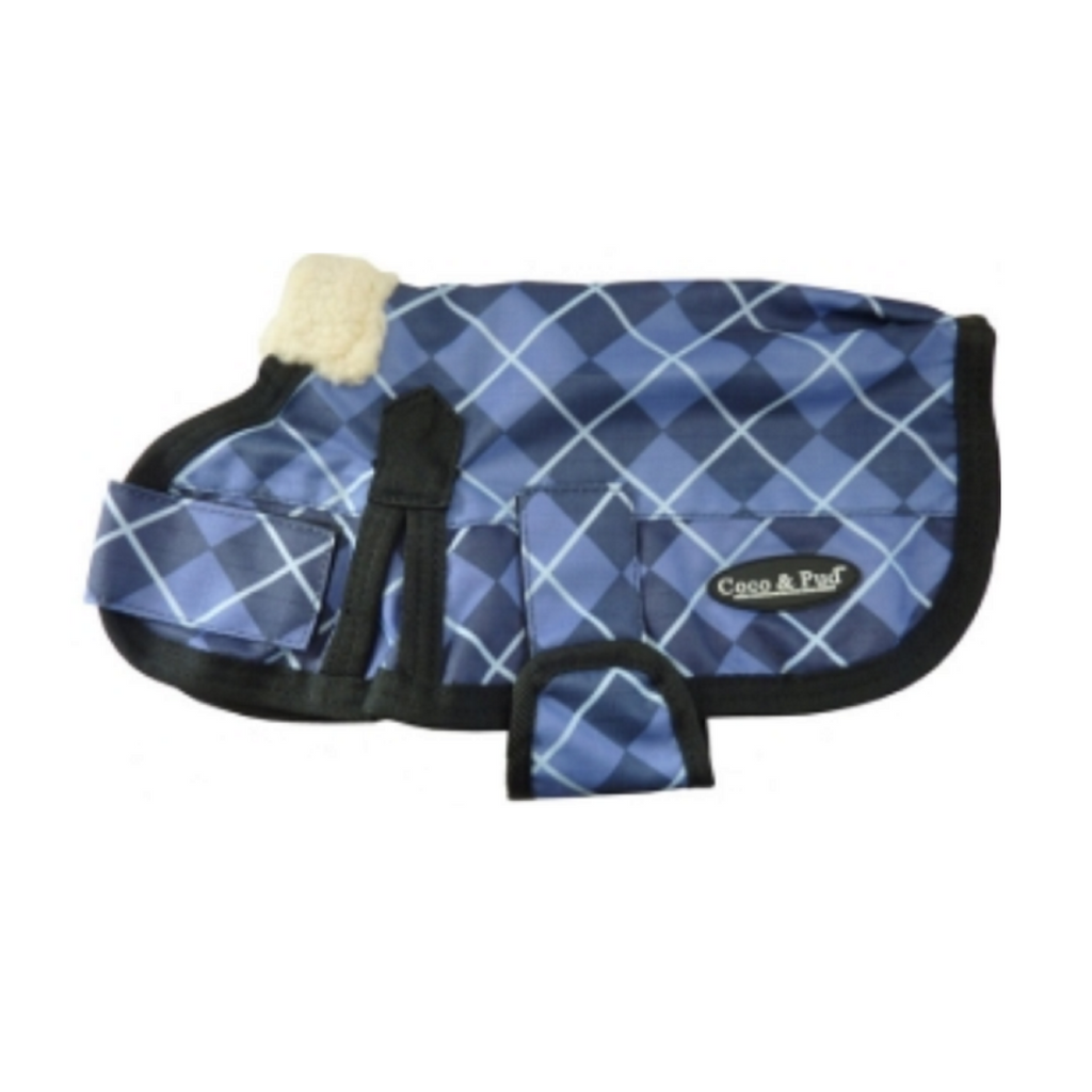 Coco & Pud 3009 Waterproof Dog Coat 30-55cm-Blue Check