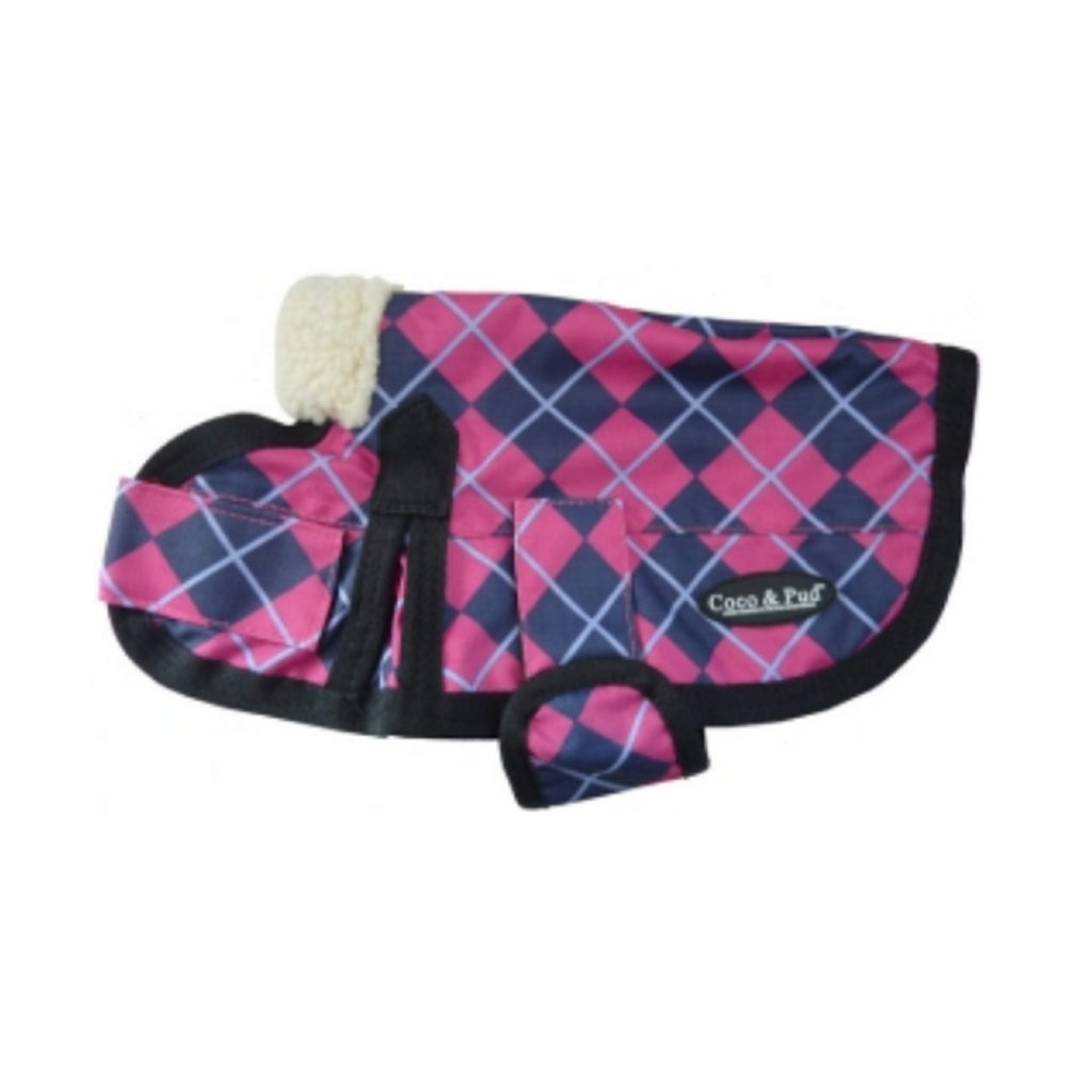 Coco & Pud 3009 Waterproof Dog Coat 30-55cm-Pink Check
