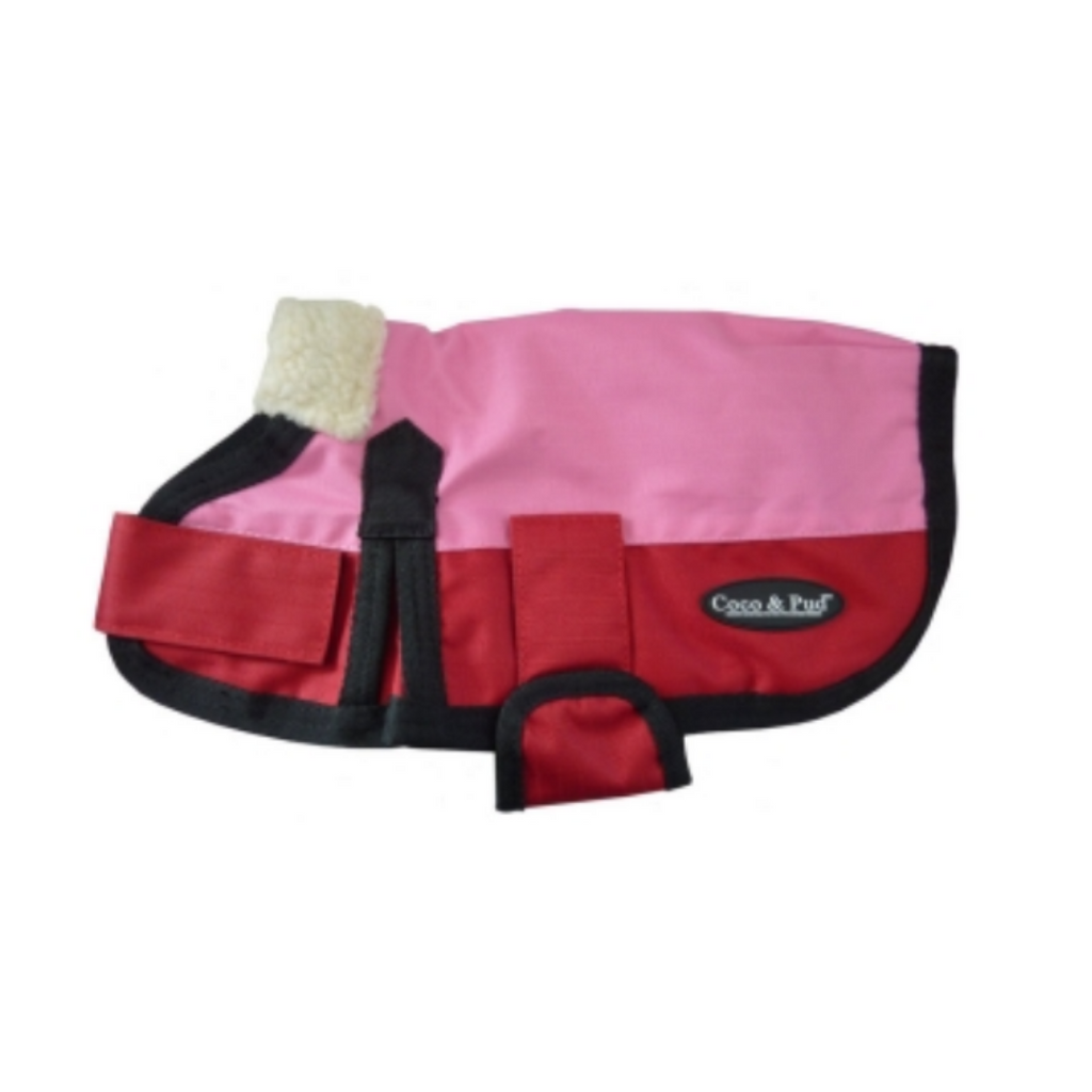 Coco & Pud 3009 Waterproof Dog Coat 30-55cm-Pink/ Red