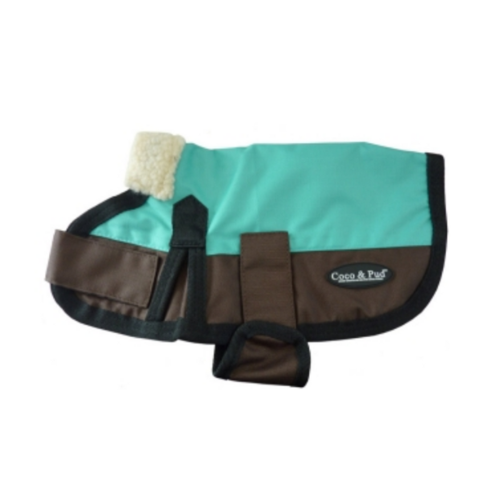 Coco & Pud 3009 Waterproof Dog Coat 30-55cm - Teal/ Choc