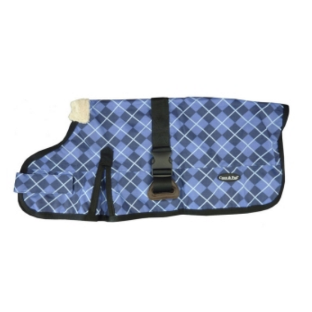 Coco & Pud 3009-B Waterproof Dog Coat 60-75cm- Blue Check