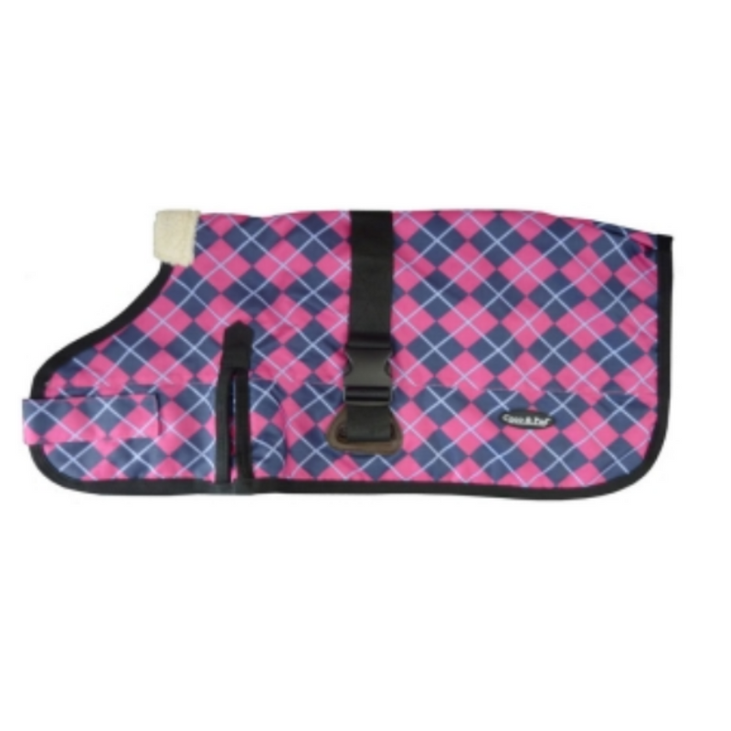 Waterproof Dog Coat 3009-B - Pink Check (for big dogs) - Coco & Pud