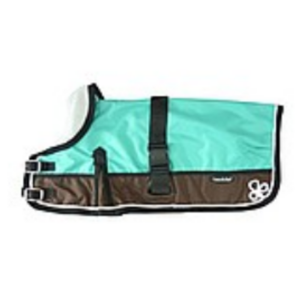 Coco & Pud 3011-B Waterproof Dog Coat 60-75cm -Teal & Choc with piping