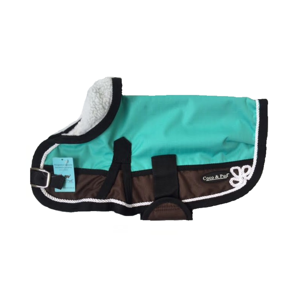 Coco & Pud 3022 Waterproof Dog Coat 30-55cm Teal/ Choc with piping