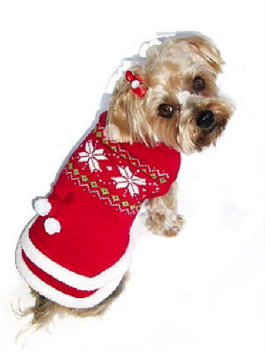 Snowflake & Pom Pom Dog Sweater