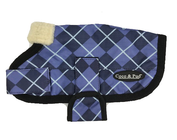 Coco & Pud 3009 Waterproof Dog Coat 20-25cm-Blue Check