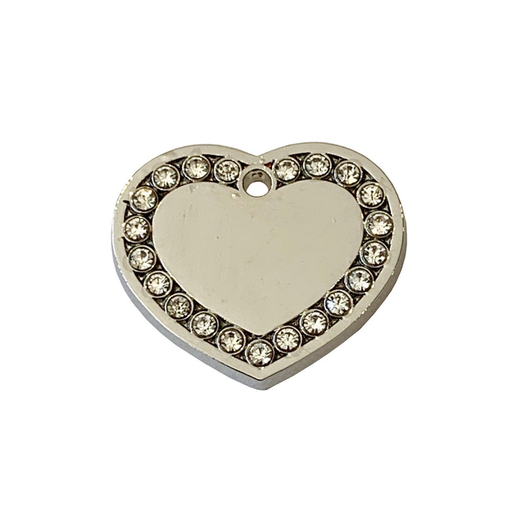 Coco & Pud Crystal Cat Heart ID Tag Silver
