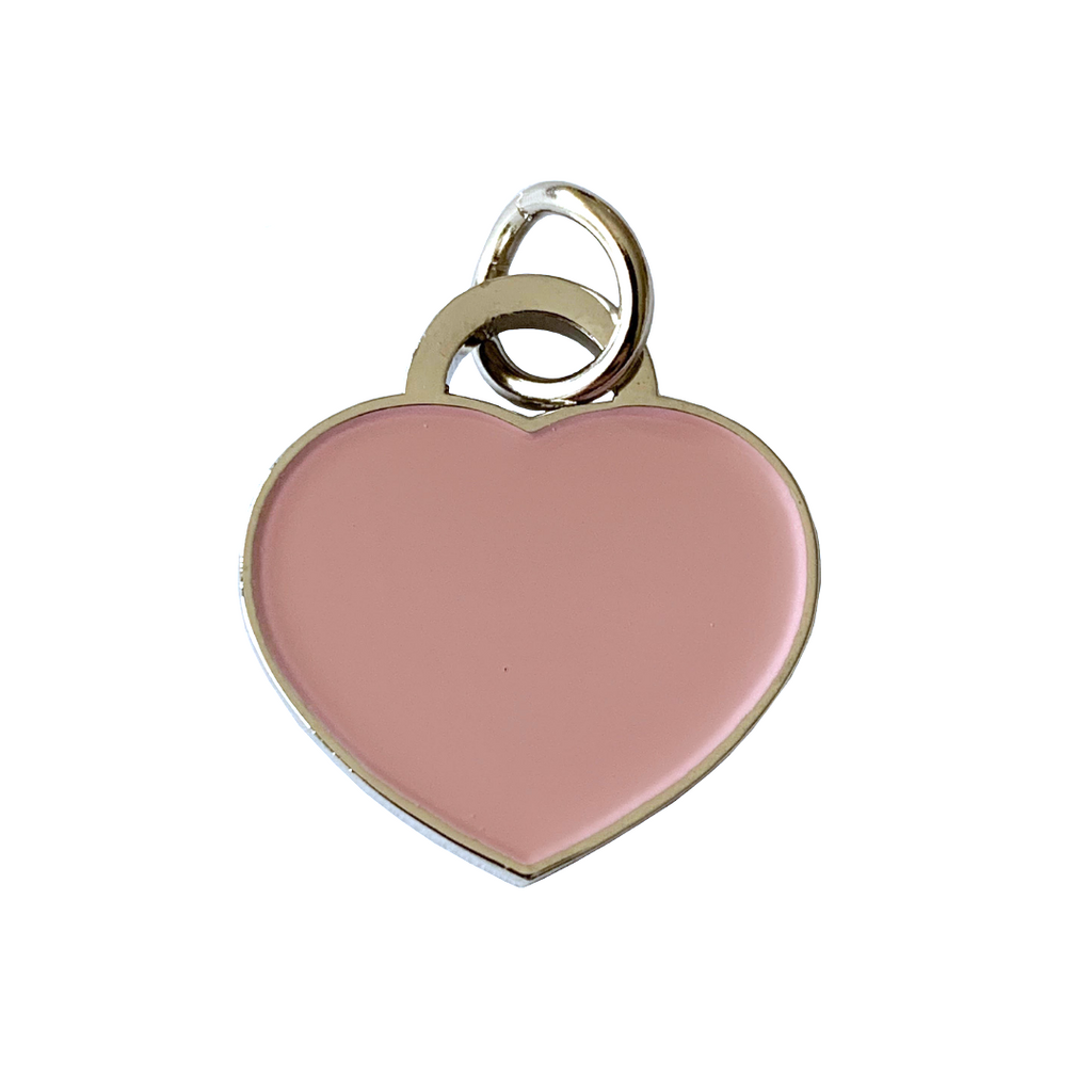 Coco & Pud Cat Heart ID Tag Silver Pink
