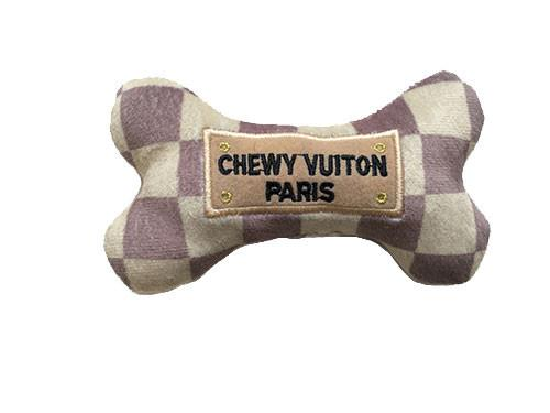 Checker Chewy Vuiton Bone Dog Toy - Coco & Pud