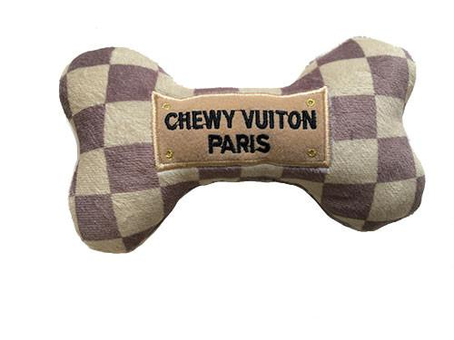 Coco & Pud Checker Chewy Vuiton Bone Toy Large