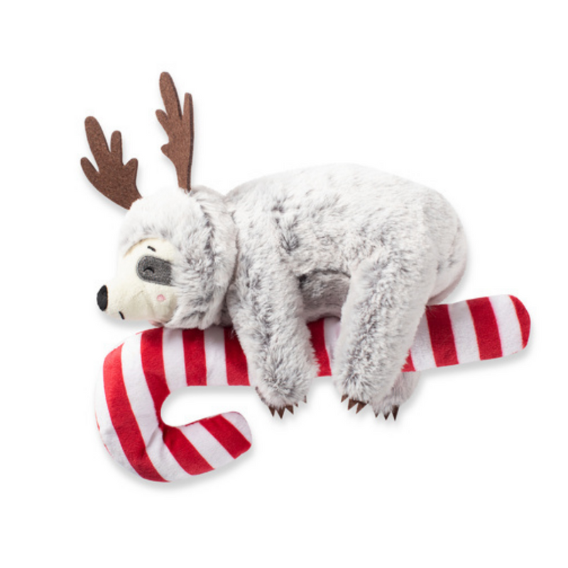 Fringe Studios Christmas Sloth hanging on a candy Cane dog toy - Coco & Pud