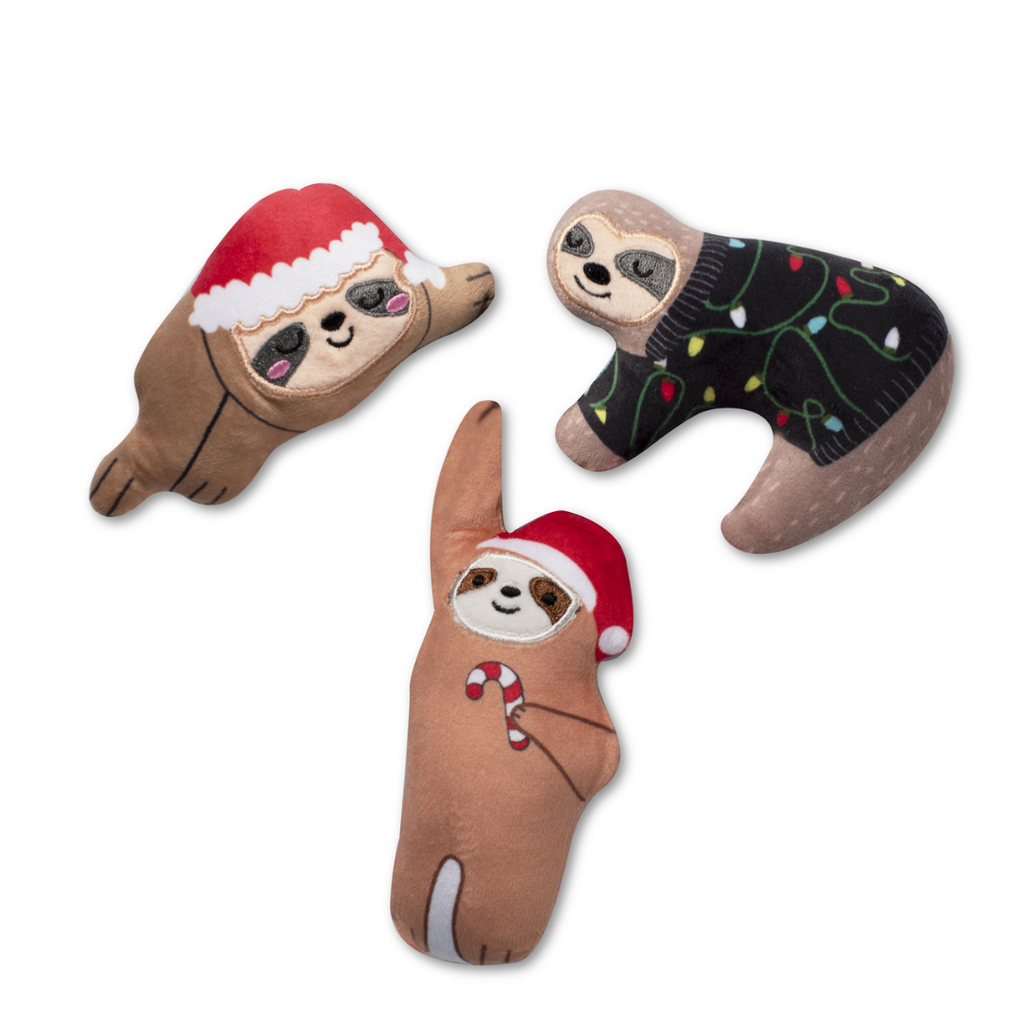 Fringe Studio Mini Christmas Sloths Dog Toys - Coco & Pud