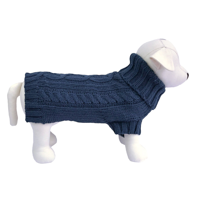 Coco & Pud Cabel Knit Dog Sweater - French Navy