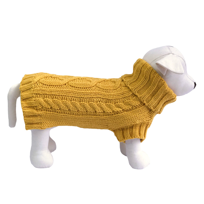 Coco & Pud Cable Knit Dog Sweater - Mustard