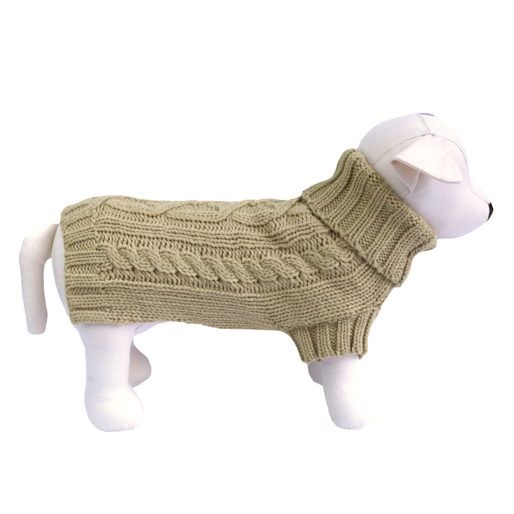 Coco & Pud Cable Knit Dog Sweater - Oatmeal