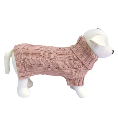 Coco & Pud Cable Dog Sweater - Rose