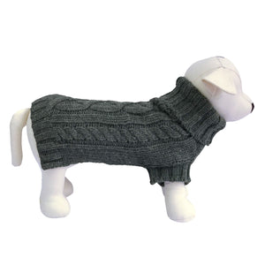 Coco & Pud Cable Dog Sweater - Slate Grey