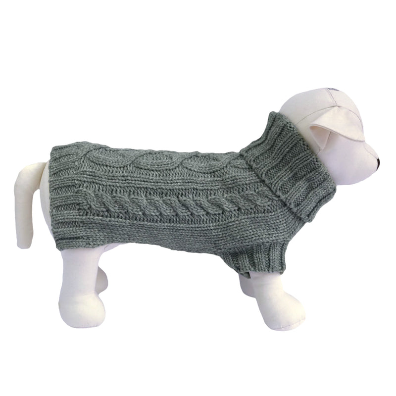 Coco & Pud Cable Dog Sweater - Storm Grey