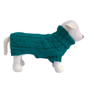 Coco & Pud Cable Knit Dog Sweater - Teal