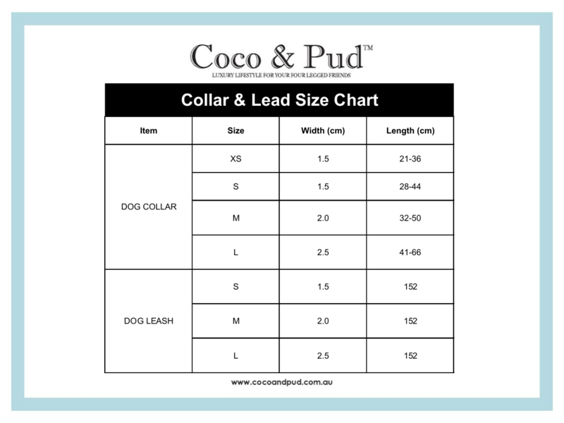 Coco & Pud Collar & Lead Size Chart