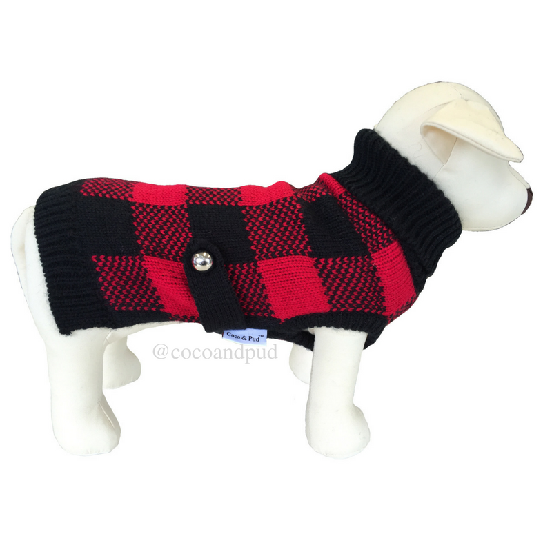 Boston Dog Sweater - Red/ Black
