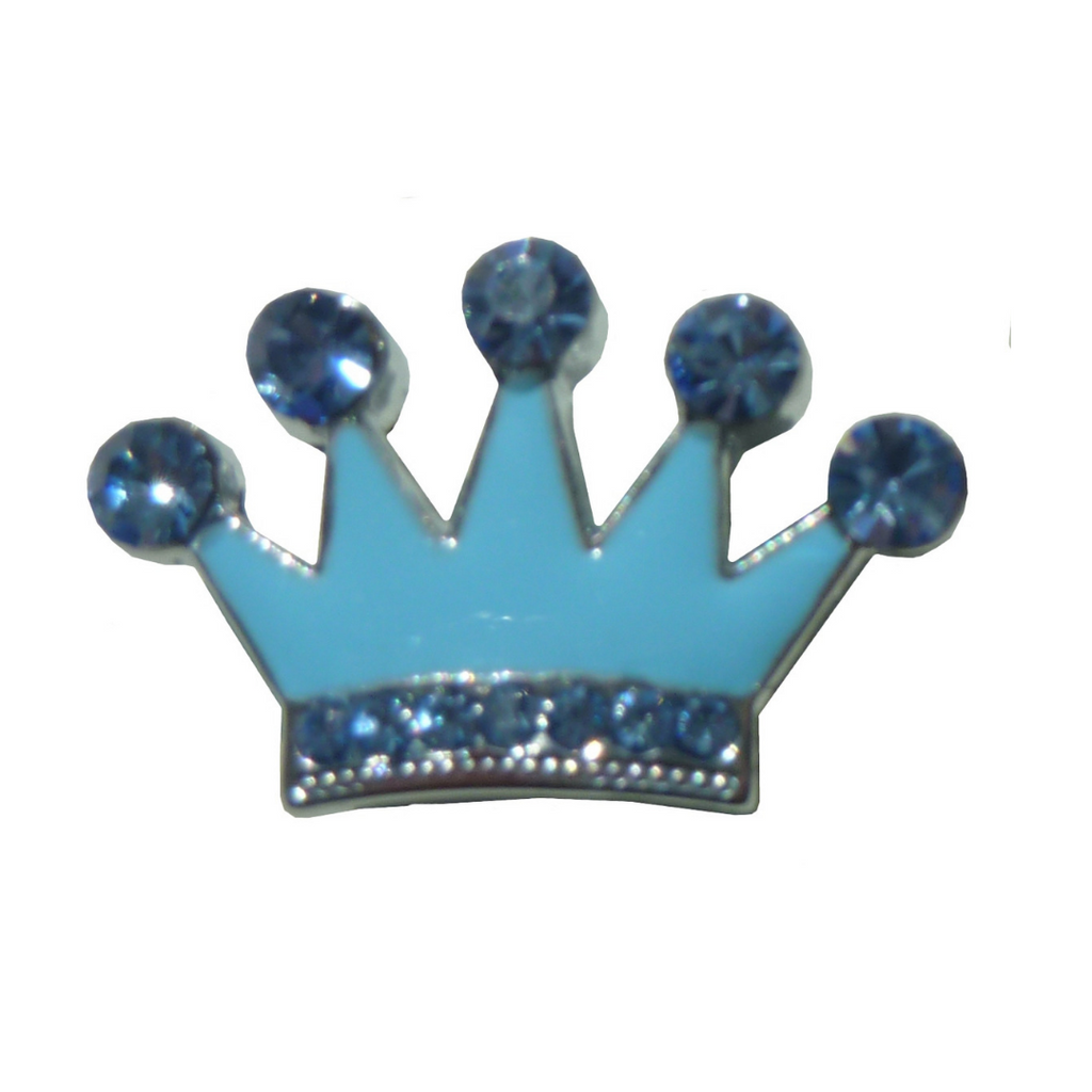 Coco & Pud Crystal Crown Slide Charm - Blue