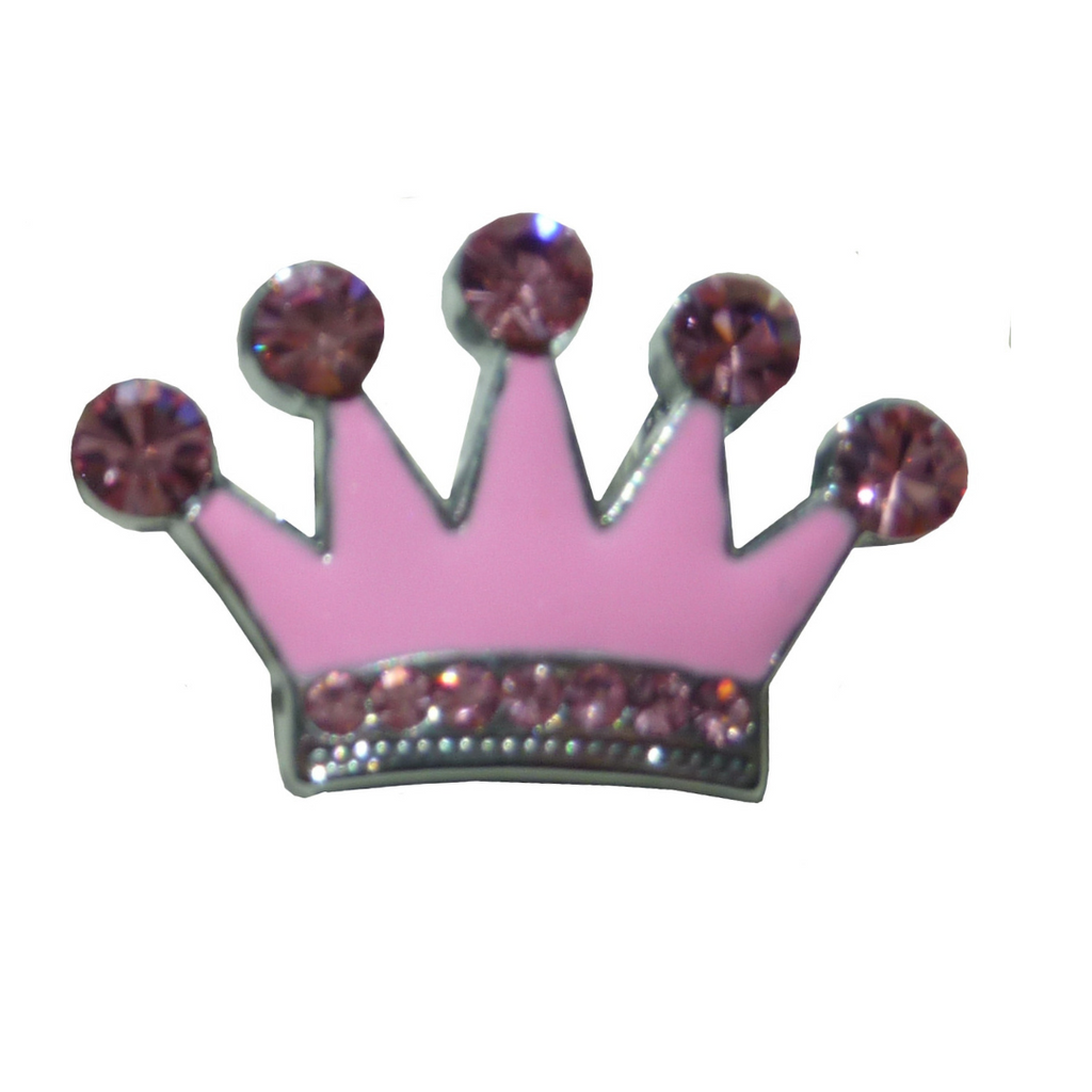 Crown Crystal Slide Charm - Pink - Coco & Pud