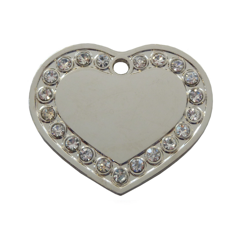 Coco & Pud Crystal Heart ID Tag Silver