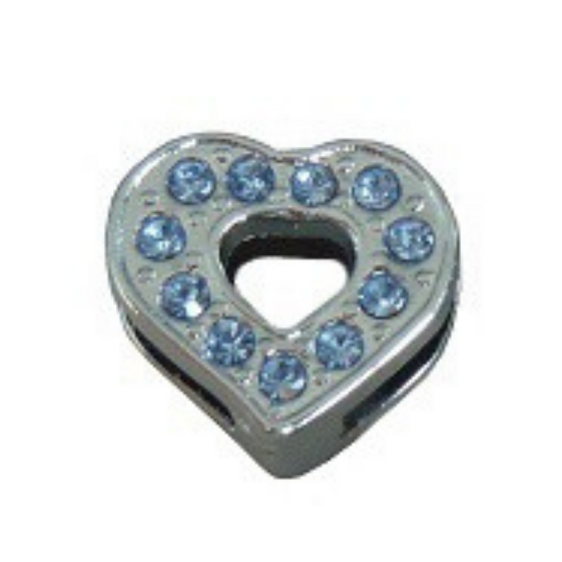 Crystal Heart Collar Slide Charm - Blue crystals - Coco & Pud