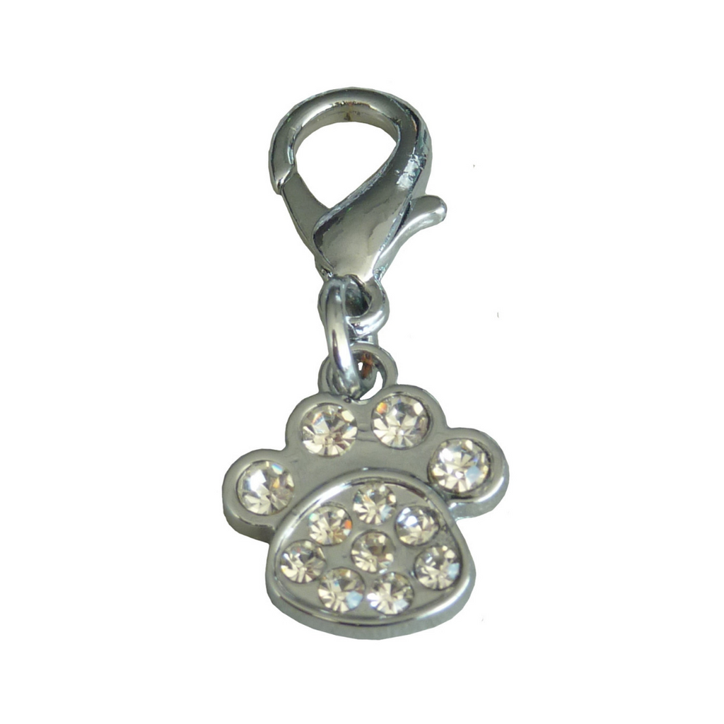 Crystal Paw Collar Charm - Silver - Coco & Pud