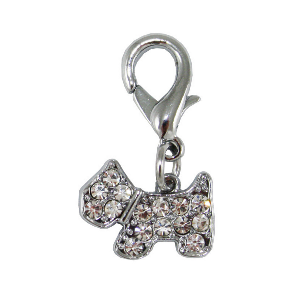 Crystal Puppy Collar Charm - Silver