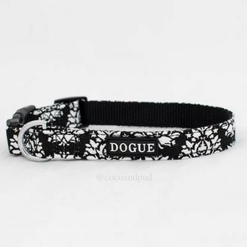 DOGUE Fleur Canvas Dog Collar - Black & White