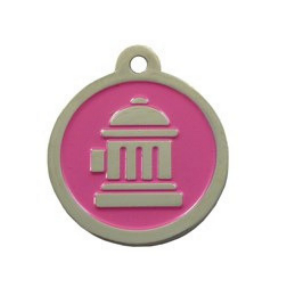 Coco & Pud Fire Hydrant ID Tag Pink Silver
