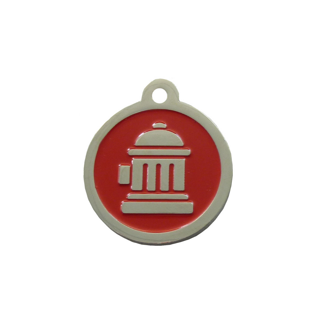 Coco & Pud Fire Hydrant ID Tag - Red Silver