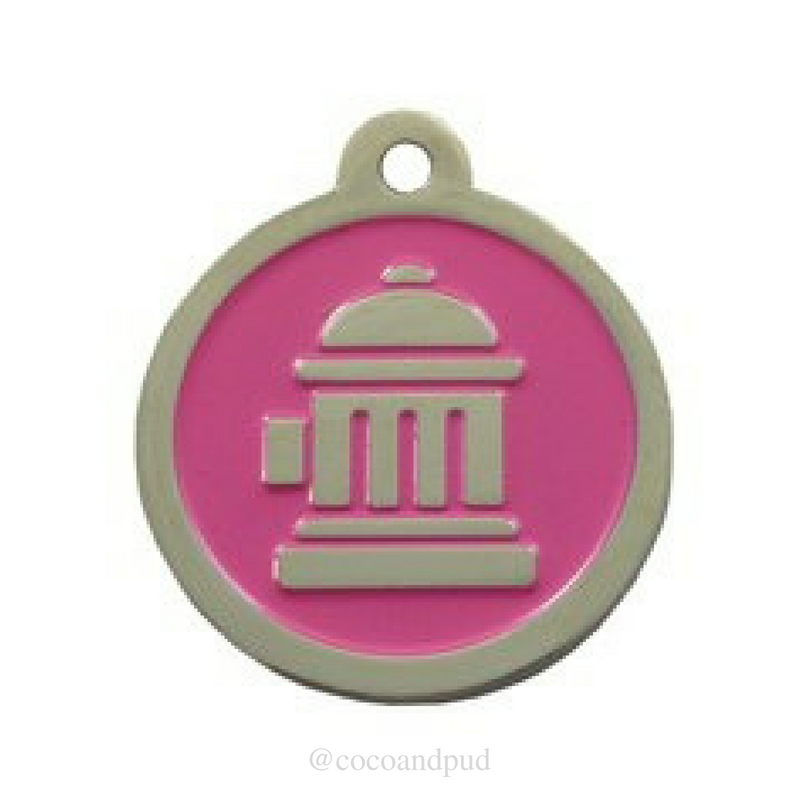 Fire Hydrant ID Tag - Pink & Silver