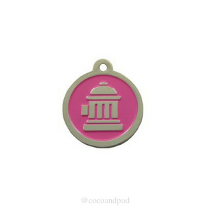 Fire Hydrant ID Tag - Pink & Silver - Coco & Pud