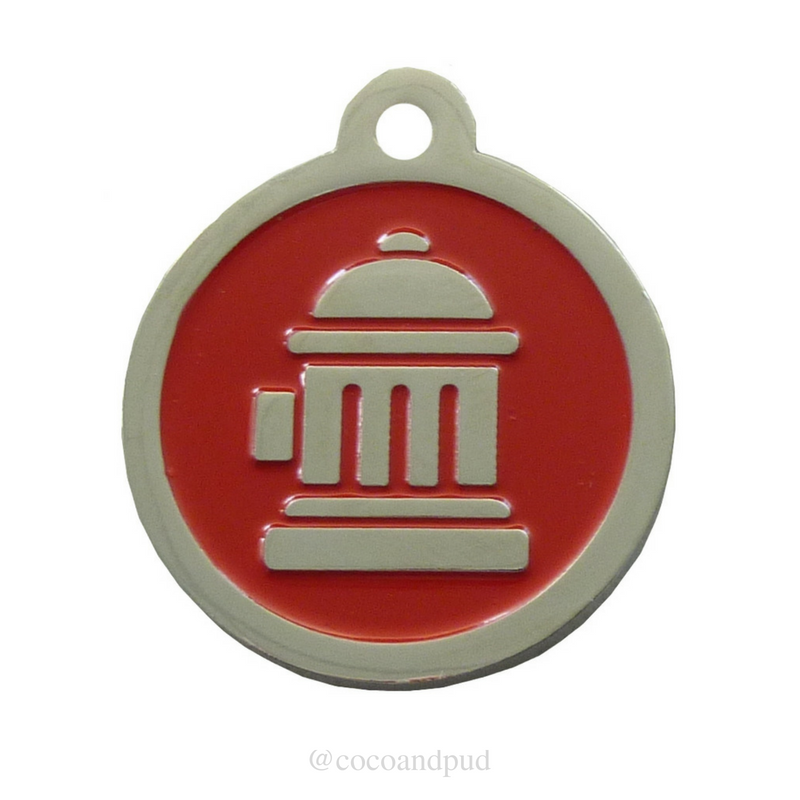 Fire Hydrant ID Tag - Red & Silver - Coco & Pud